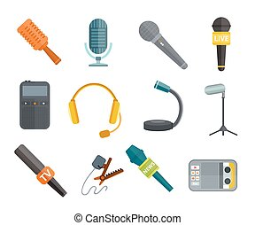 Different microphones types vector icons. Journalist...