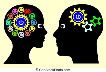 Different Mindset - Man and woman with different thinking...