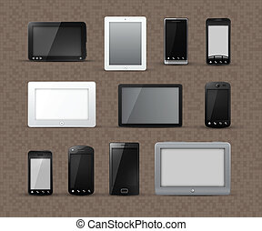 Different Models of Tablets and Smart Phones - Different...