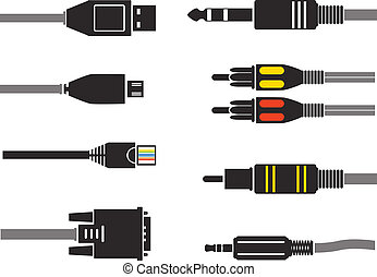 Different modern connection plugs. Vector silhouettes