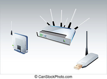 Wi-Fi devices - Different modern glossy Wi-Fi devices