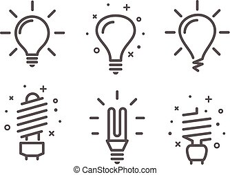 Different modern lightbulb vector icons set isolated on white background