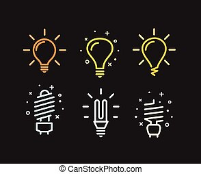 Different modern lightbulb vector silhouettes