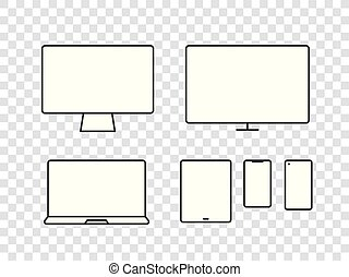 Different modern media device pictograms collection. Vector elements