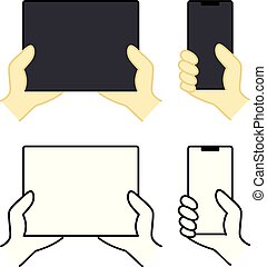 Different modern mobile gadgets. Different style vector clipart