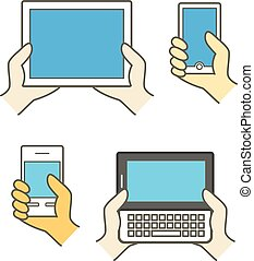 Different modern mobile gadgets. Lineart color collection