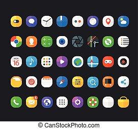 Different modern smartphone application icons set. Vector flat design elements
