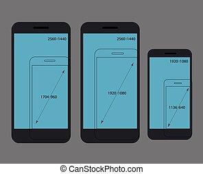 Different modern smartphone resolutions comparison. Design...