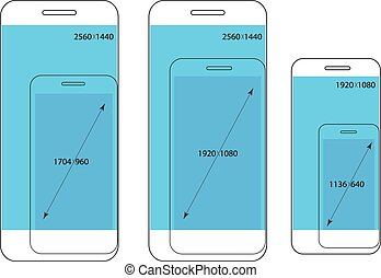 Different modern smartphone resolutions comparison. Design elements