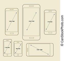 Different modern smartphone resolutions mockups. Design elements