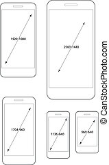 Different modern smartphone resolutions set. Design elements