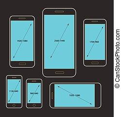 Different modern smartphone resolutions mockups. Design...