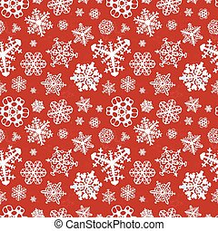 Different modern snowflakes on red background seamless pattern