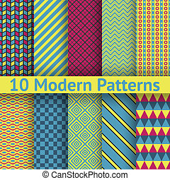 Different modern vector seamless patterns (tiling)