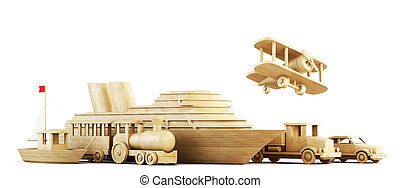 Different modes of transport. Conceptual 3d image.
