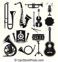 Different monochrome pictures of musical instruments isolated on white. Vector pictures set