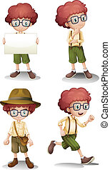 Different moods of a young boy - Illustration of the...