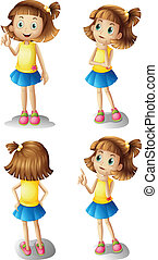 Illustration of the different moods of a young girl on a white background