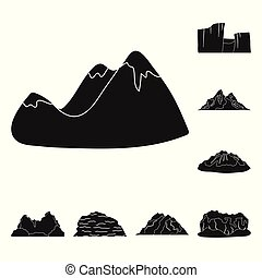 Different mountains black icons in set collection for design. Mountains and landscape vector symbol stock web illustration.