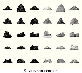 Different mountains black. mono icons in set collection for design. Mountains and landscape vector symbol stock web illustration.