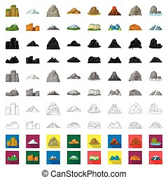 Different mountains cartoon icons in set collection for design. Mountains and landscape vector symbol stock web illustration.