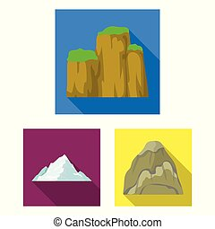 Different mountains flat icons in set collection for design. Mountains and landscape vector symbol stock web illustration.