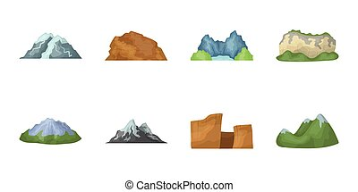 Different mountains icons in set collection for design. Mountains and landscape vector symbol stock web illustration.