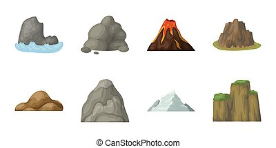 Different mountains icons in set collection for design.Mountains and landscape vector symbol stock web illustration.