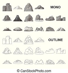 Different mountains monochrom icons in set collection for design. Mountains and landscape vector symbol stock web illustration.