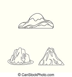 Different mountains outline icons in set collection for design. Mountains and landscape vector symbol stock web illustration.