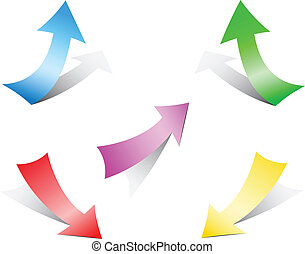 Different multi-colored paper arrows isolated on the white background