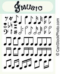 Different music notes on poster