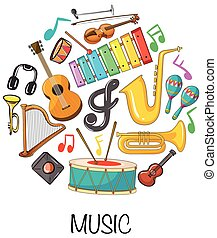 Different musical instruments on white background