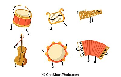 Different musical instuments characters with hands and legs vector illustration