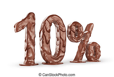 Different numbers from chocolate on a white background. 3d illustration