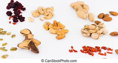 Different nuts on white background