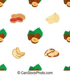 Different nuts seamless pattern. Peanut, brazil nut, cashew, hazelnut, chickpea