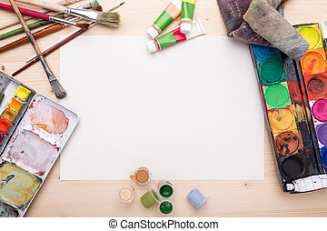 Different objects, related to painting and drawing