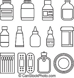 Different of medicine icons set, line style
