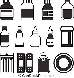 Different of medicine icons set, silhouette style