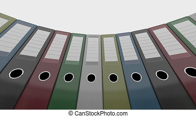Different office binders. Good for reports and presentations. 4K seamless loopable clip