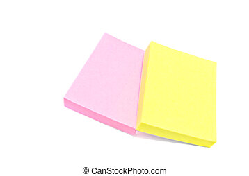 different office sticky notes on white