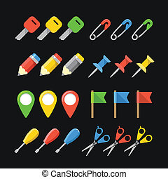 Different office stuff web color icons collection
