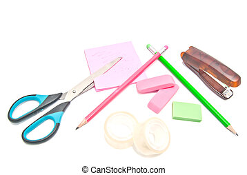 different office supplies close-up