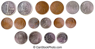 different old belgian coins isolated on white background
