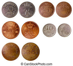 different old coins of denmark