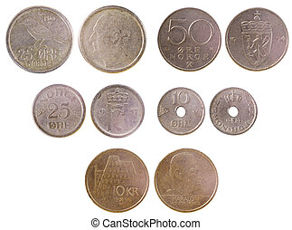 different old coins of norway