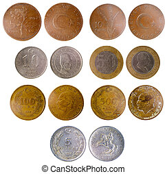 different old turkish coins