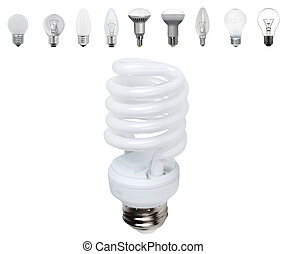 Different old types of bulbs and modern light-bulb isolated