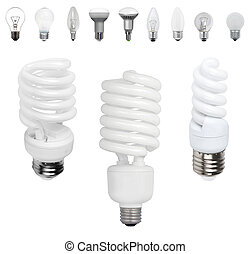 Different old types of bulbs and modern light-bulb